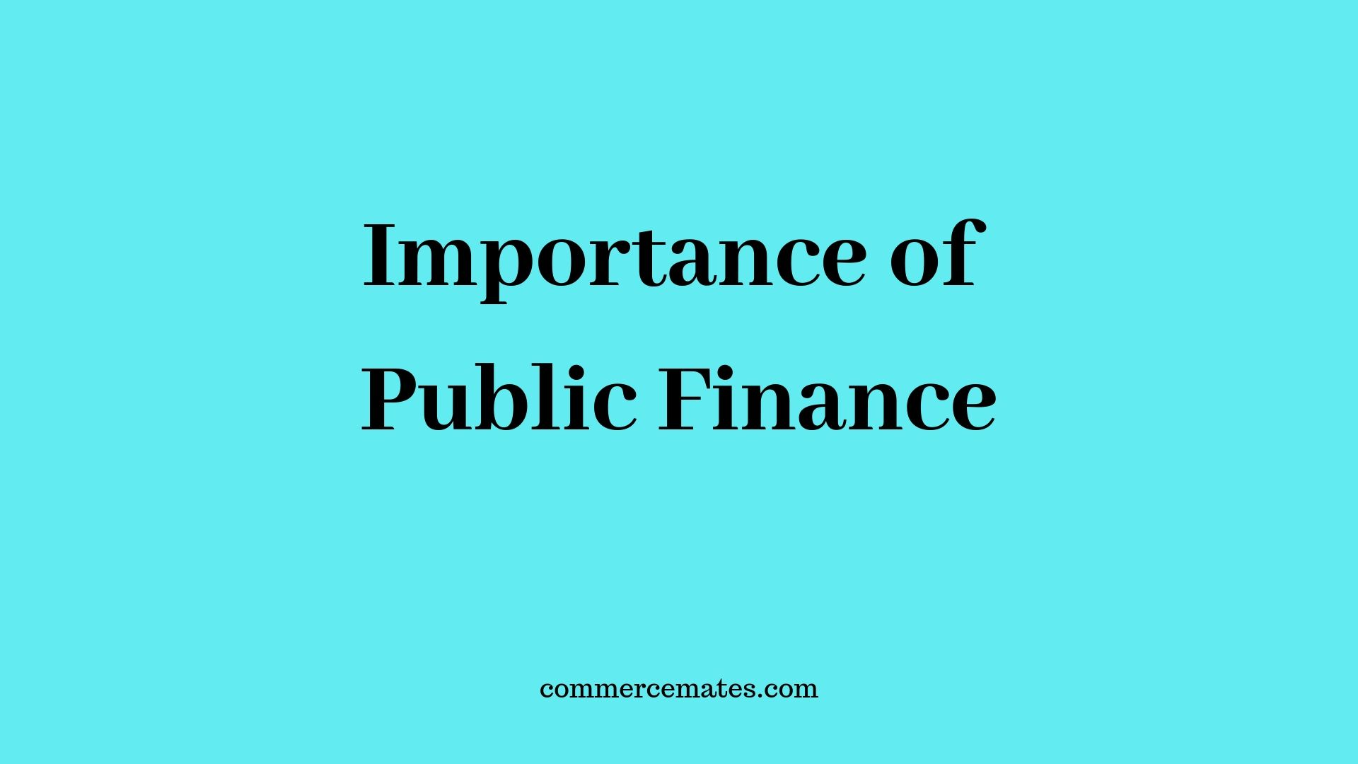 Importance of Public Finance in Developing Countries