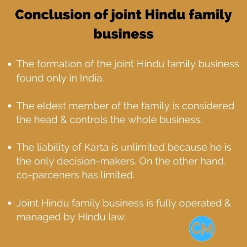 Conclusion of joint Hindu family business