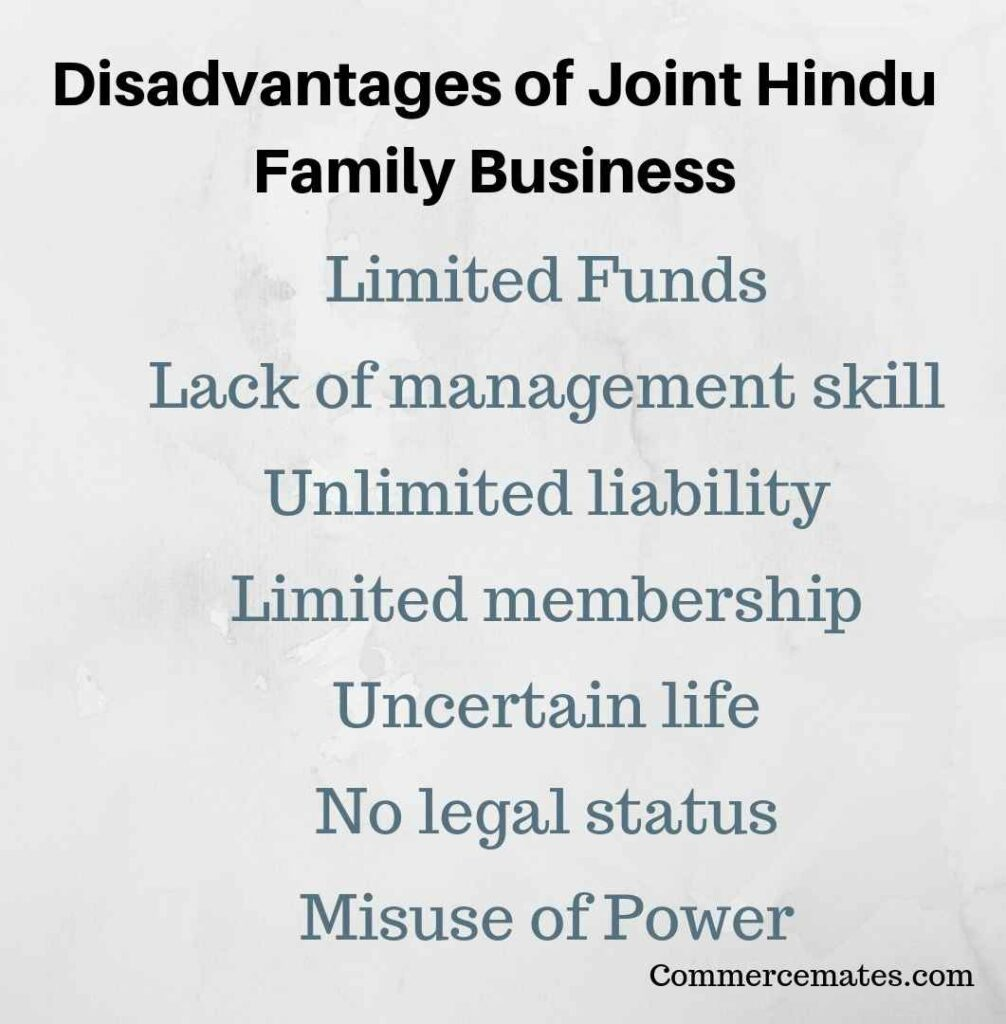 Disadvantages of Joint Hindu Family Business