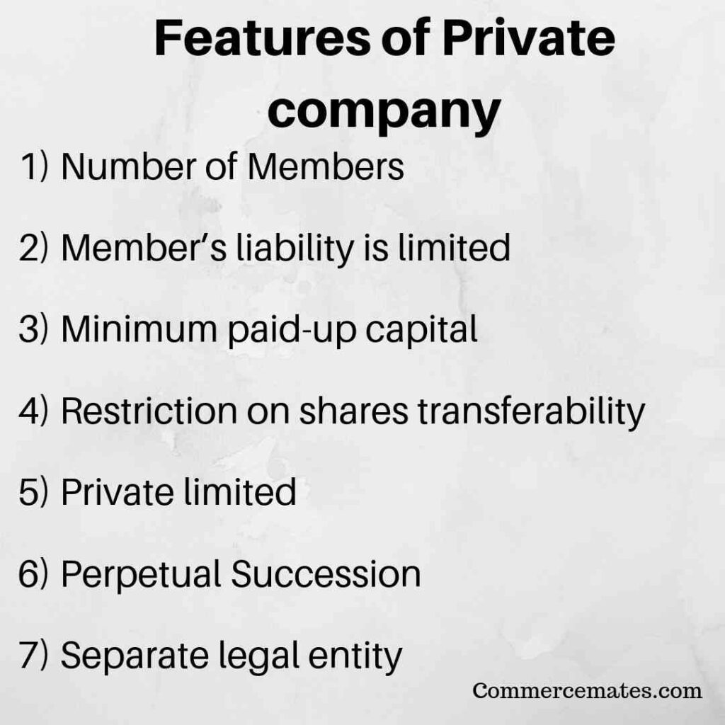 Features of Private company