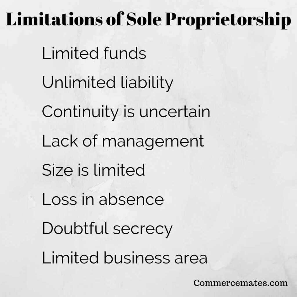 Limitations of Sole Proprietorship