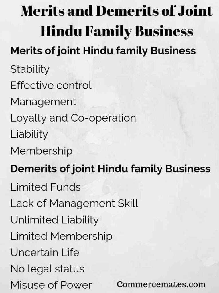 Merits and Demerits of Joint Hindu Family Business
