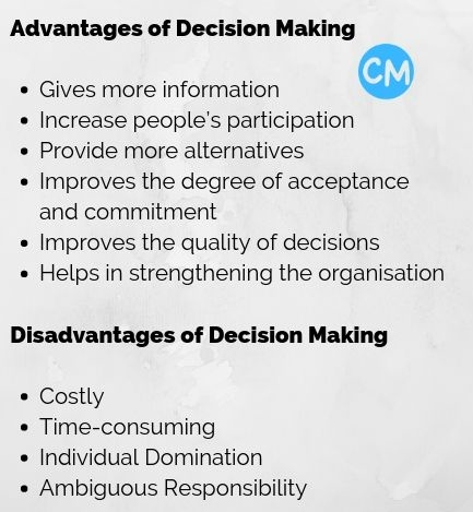 Advantages and Disadvantages of Decision Making
