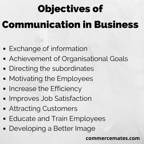 Objectives of communication in business