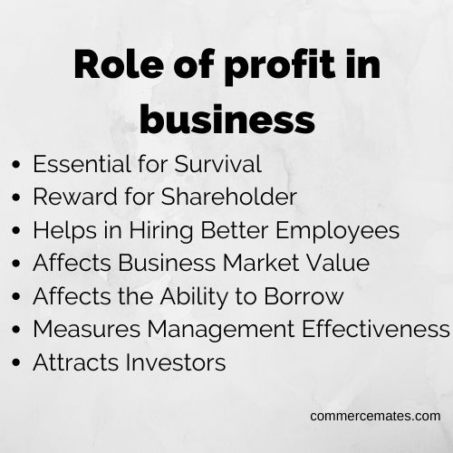 Role of profit in business