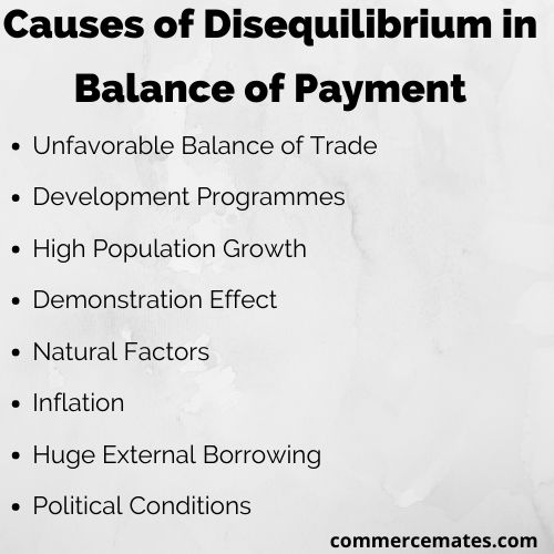 Causes of Disequilibrium in Balance of Payments