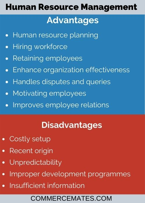 Advantages and Disadvantages of Human Resource Management